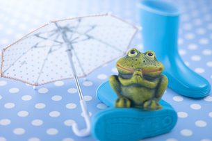 蛙の置物と傘と長靴の写真素材 [FYI01937977]