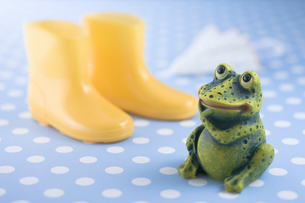 蛙の置物と長靴の写真素材 [FYI01940322]