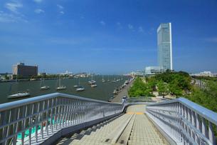 朱鷺メッセと信濃川の写真素材 [FYI01943499]