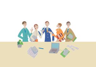 オフィスと5人の会社員 クラフトのイラスト素材 [FYI01943944]