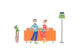 ソファーに座る2人のカップル クラフトのイラスト素材 [FYI01944247]