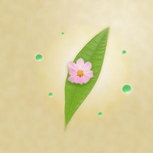 葉に乗ったピンクの花と水色の玉の写真素材 [FYI01945617]