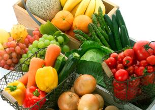 穫れたて野菜とフルーツの集合の写真素材 [FYI01945630]