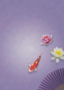 鯉と蓮の東洋のイメージのイラスト素材 [FYI01945859]