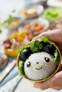 パンダのキャラクター弁当を持つ手元の写真素材 [FYI01946489]