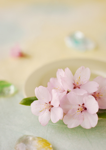 和紙の上の桜の花とガラスの飾りの写真素材 [FYI01946573]