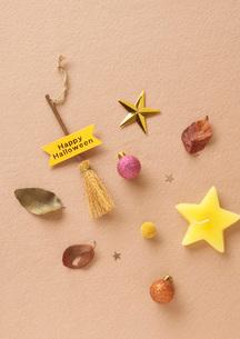 ハロウィンの小さいほうきと秋の落ち葉の写真素材 [FYI01946618]