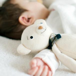 寝ている赤ちゃんとクマのぬいぐるみの写真素材 [FYI01947908]