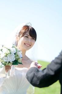 草原で新郎の手を取る新婦の写真素材 [FYI01948072]