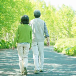散歩をするシニア夫婦の後姿の写真素材 [FYI01948345]