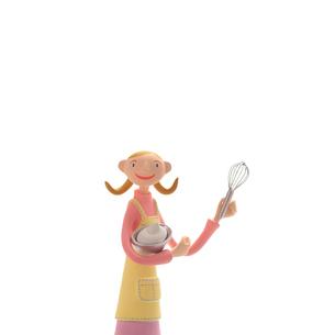 泡立て器を持って料理をする女性 クラフトの写真素材 [FYI01948976]