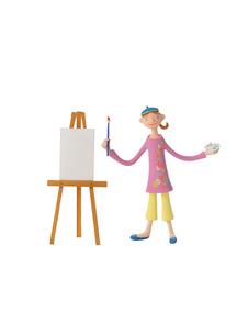 絵を描く女性 クラフトの写真素材 [FYI01949396]
