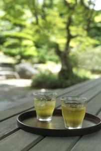 庭と冷茶の写真素材 [FYI01949913]
