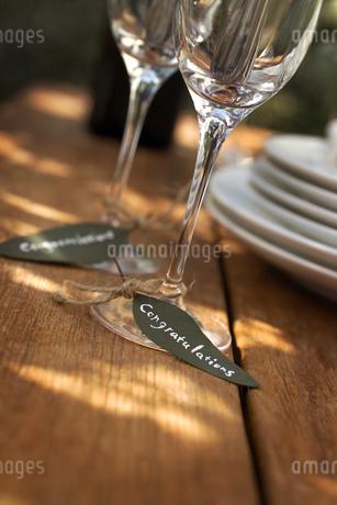 シャンパングラスと葉っぱのカードの写真素材 [FYI01950655]