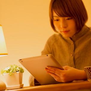 タブレットPCで通信講座の勉強をする女性の写真素材 [FYI01951422]