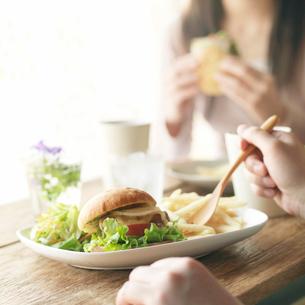 カフェでワンプレートランチを食べるカップルの写真素材 [FYI01951701]