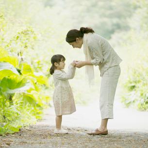 新緑の中で母親に花を渡す女の子の写真素材 [FYI01951722]