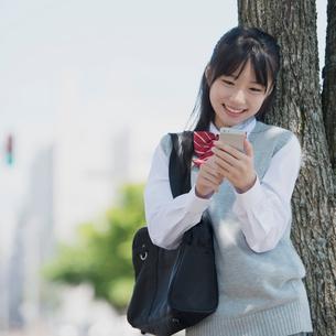 スマートフォンを操作する女子学生の写真素材 [FYI01951843]