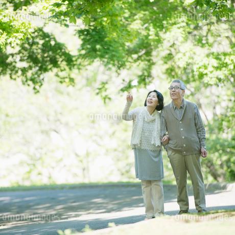 公園を散歩するシニア夫婦の写真素材 [FYI01952078]