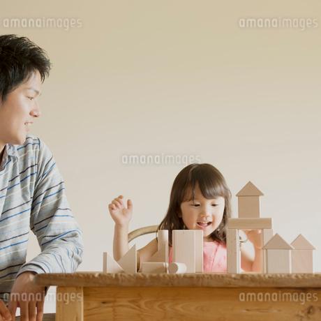 積み木で遊ぶ親子の写真素材 [FYI01952084]