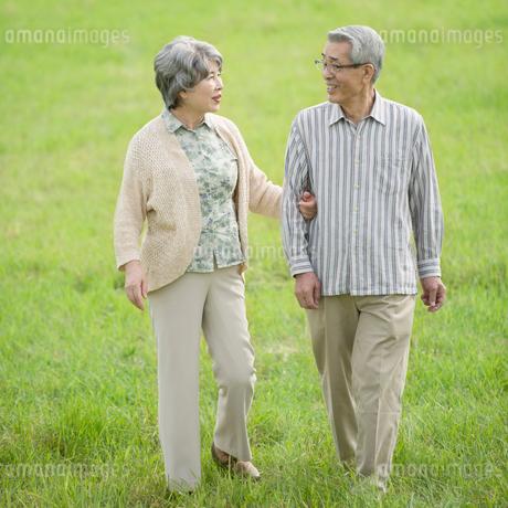 草原を歩くシニア夫婦の写真素材 [FYI01952133]
