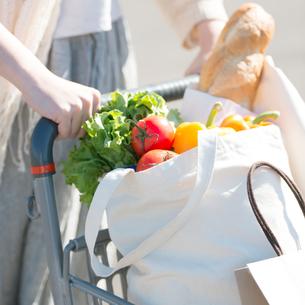 ショッピングカートを押す女性の手元の写真素材 [FYI01952260]