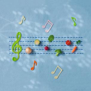 フェルトで作った五線譜の上に並べたミニ野菜の写真素材 [FYI01953053]