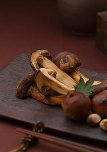 皿盛りの焼松茸と箸の写真素材 [FYI01953165]