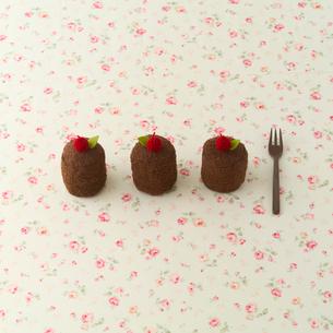 3つ並んだチョコレートケーキの写真素材 [FYI01953624]
