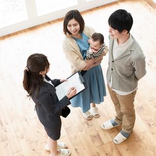 部屋の内見をする家族とビジネスウーマンの写真素材 [FYI01953631]