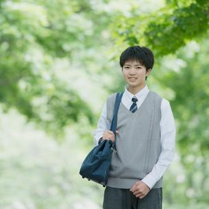 新緑の中で微笑む男子学生の写真素材 [FYI01954630]