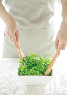 サラダを混ぜる女性の写真素材 [FYI01955160]