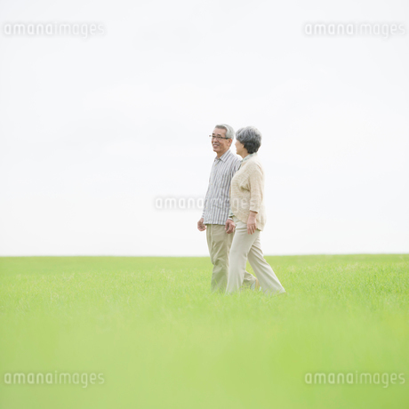 草原を歩くシニア夫婦の写真素材 [FYI01955169]