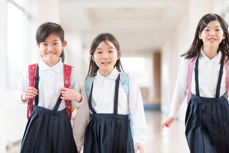 廊下を歩く小学生の写真素材 [FYI01955396]