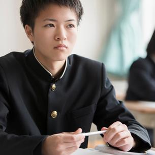 ペンを持つ男子学生の写真素材 [FYI01955574]
