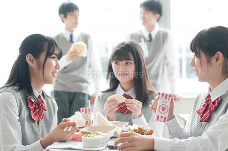 昼食を食べる学生の写真素材 [FYI01955629]