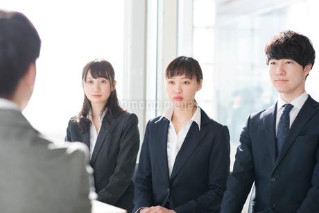 面接を受けるビジネスマンとビジネスウーマンの写真素材 [FYI01955646]