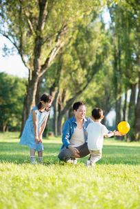ポプラ並木で遊ぶ親子の写真素材 [FYI01958110]
