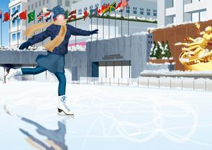 スケートをする女性のイメージのイラスト素材 [FYI01961673]