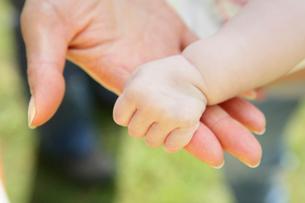 赤ちゃんと母親の手の写真素材 [FYI01963638]