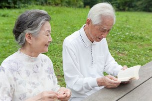 読書をする男性と編み物をする女性の写真素材 [FYI01966988]
