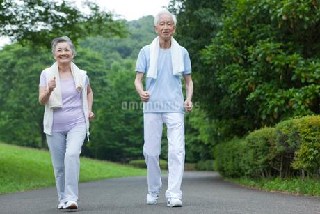 ウォーキングをするシニア夫婦の写真素材 [FYI01967564]