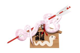 ヘビと絵馬 イラストのイラスト素材 [FYI01971905]