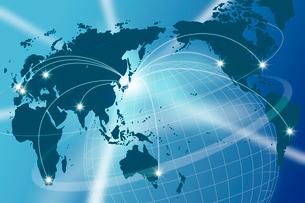 球体と世界地図のネットワークイメージ CGの写真素材 [FYI01972428]