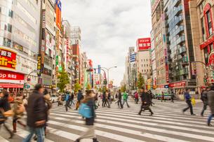 新宿歌舞伎町交差点と通行人の写真素材 [FYI01973508]