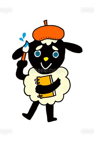 絵筆とスケッチブックを持った羊 イラストのイラスト素材 [FYI01974752]