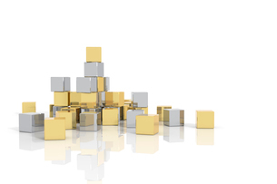 置かれた金色と銀色の立方体 CGのイラスト素材 [FYI01976317]