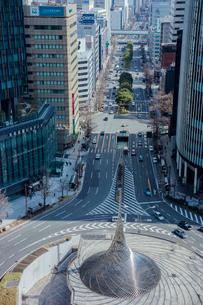 名古屋駅前のモニュメントと桜通の写真素材 [FYI01976686]