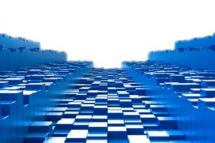 並ぶ立体の四角形と四角柱 CGのイラスト素材 [FYI01977281]
