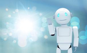 手をあげるロボットと光 CGのイラスト素材 [FYI01977538]